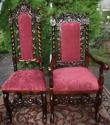19th century Antique Jacobean Cherub twisted Oak Set of 1 Armchair 3 side chairs