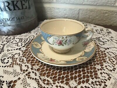 Myott Staffordshire Rose BLUE Cup and Saucer