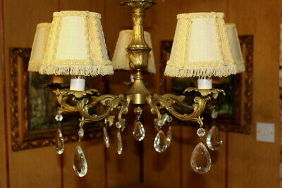 Heavy Vintage French Bronze & Crystal Chandelier Ceiling Light  Lamp 5 Lights