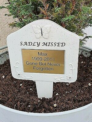 Pet Memorial Personalised Brass Plaque Engraved Dog Cat Grave Sadly missed Stake
