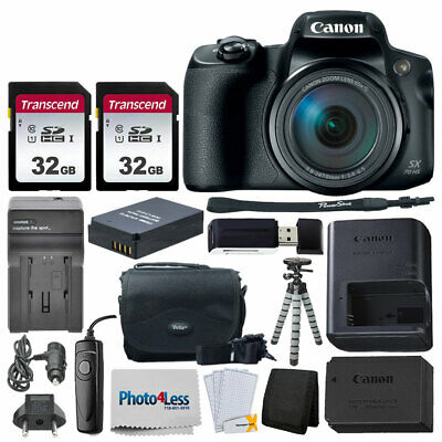 Canon PowerShot SX70 HS Digital Camera + 2x 32GB Card + Extra Battery & Charger