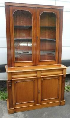 Antique Victorian Cherry Wood Bookcase Cabinet Original Wavy Glass, 2 Sections
