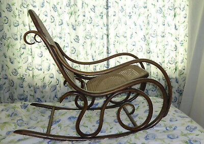 Bentwood Rocking chair Thonet style Art Nouveau Original cane seat 100+ years