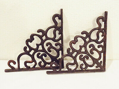 Pair, Set of 2 Vintage, Black Cast Iron Shelf Brackets Supports, Slightly Rusted