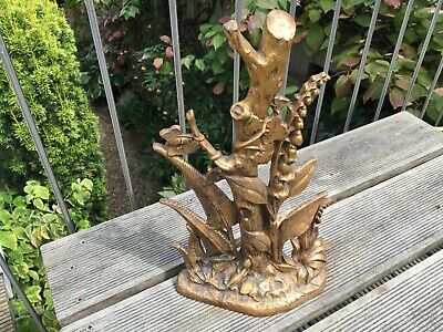 RARE Antique heavy ARTS & CRAFTS cast iron gilded DOOR STOP FOXGLOVE lizard fern