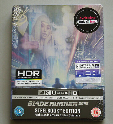 Blade Runner 2049 - Uk Hmv Mondo Artwork 4K Ultra + 3D + 2D Blu-Ray Steelbook *