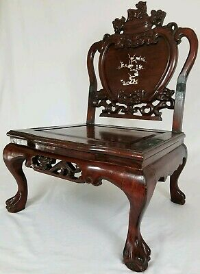 Antique Carved Rosewood Foo Dog MOP Inlaid Throne Chair Chinese Asian