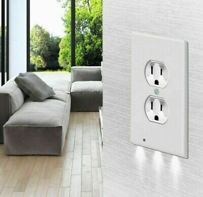 Night Plate Plug Cover With LED Lights White Wall Outlet Cover Hallway Bathroom