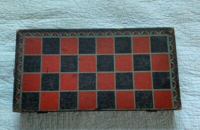 Antique Wood Hinged Checkers Backgammon Board Game