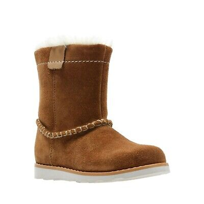 Clarks Crown Piper Tan Suede Girls Boots Size UK 5 - 12 F, G