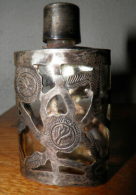 Antique Art Nouveau Sterling Silver 925 Glass Bottle Perfume Silver Overlay 3""