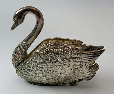 "Vintage Godinger Silver Plated Swan Letter Or Napkin Holder 6"" Tall It/581"