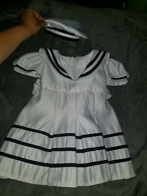 Girls white Sailor dress with navy blue trim and tie  w/ matching Hat Sz XL