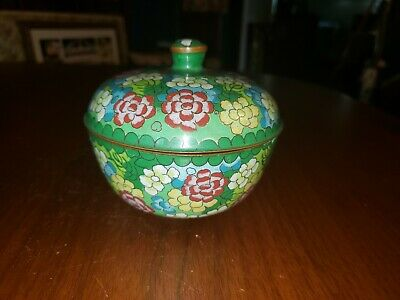 Vintage Antique early 1900s Chinese Brass Cloisonne Enamel Bowl With Lid