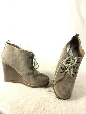 a070d26a31e STEVE MADDEN TANNGOO Black Leather Suede Wedge Ankle Boots Womens ...