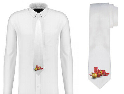 Gold and Red baubles and Christmas Ribbon Mens Neck Tie Silk Polyester D68-2