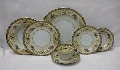 NORITAKE china COLBY BLUE 5032 pttn 7-piece Place Setting w/ Fruit & Soup Bowls