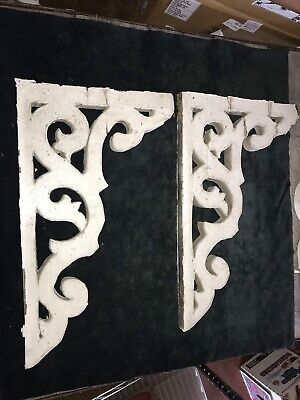Antique Corbel Pair 1800s Architectural Salvage Victorian Wood Repurpose Upcycle