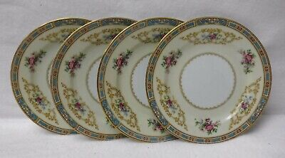 """NORITAKE china COLBY BLUE 5032 pattern Set of Four (4) Bread Plates - 6-3/8"""""""