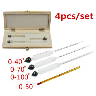 Alcohol Hydrometer Thermometer Set F/ Home Brew Wine Liquor Mead Tester Meter ds