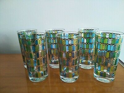 6 Vintage Retro Coloured Drinking Glasses With Gold Gilt Design