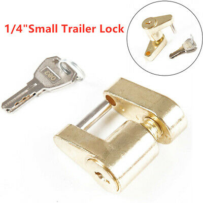"1/4""small trailer lock Tow Hitch Ball Bar Trailer Coupler Lock! 2 Keys!"