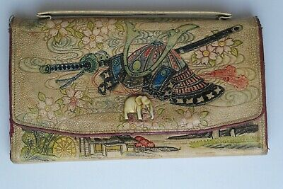 Japanese Vintage Purse 1920s/30s Colourful Painted Scenes & Elephant Clasp
