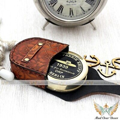Ales Fur Deutschland Berlin 1939 Poem Compass With Leather Case Collectible Item