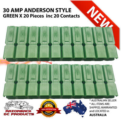 20X Green 30 Amp Anderson Style Powerpole Plugs 12-16 AWG *Premium Product 30AMP
