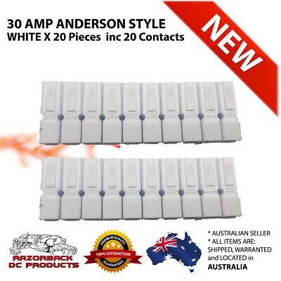 20X White 30 Amp Anderson Style Powerpole Plugs 12-16 AWG *Premium Product 30AMP