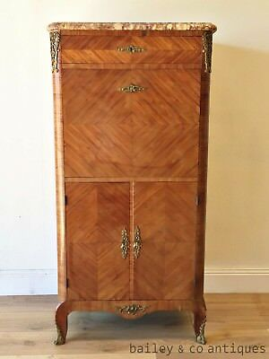 Antique French Cocktail Drinks Cabinet Louis Style Marquetry Marble Top - TM062