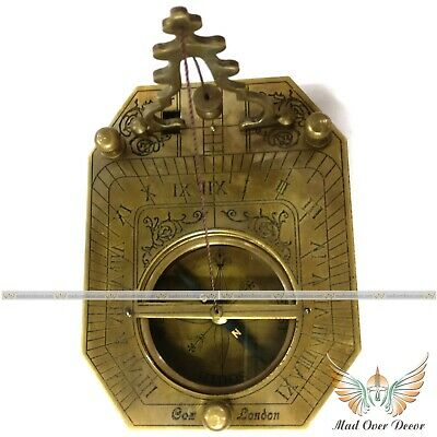 Vintage Antique Style Brass Marine F.cox Sundial Compass Camping Hiking Item