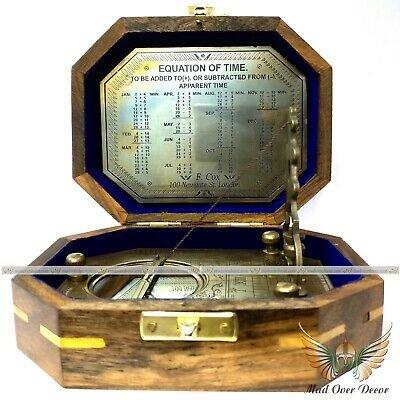 Antique Style Solid Brass F.cox Sundial Compass With Wooden Box Gift Item