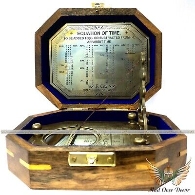 Solid Brass Royal Navy F.cox Sundial Compass With Wooden Box Collectible Item