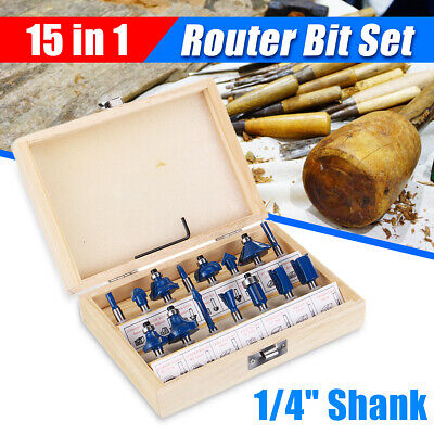 15pcs 1/4''Router Bits Set Shank Tungsten Carbide Woodworking Milling Cutter Kit