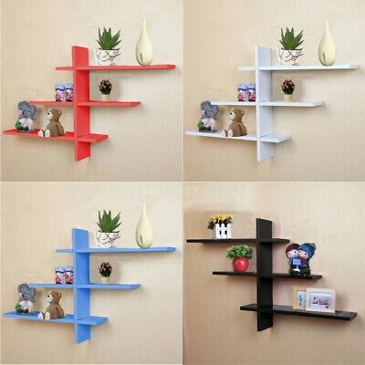 Set Of 7 Shape T-Shaped Floating Wall Shelves Storage Display Shelf Home  * ^