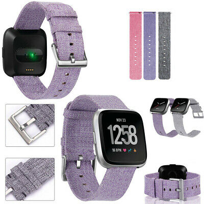Woven Fabric Strap Wrist Bands w/ Stainless Metal Clasp For Fitbit Versa Fashion