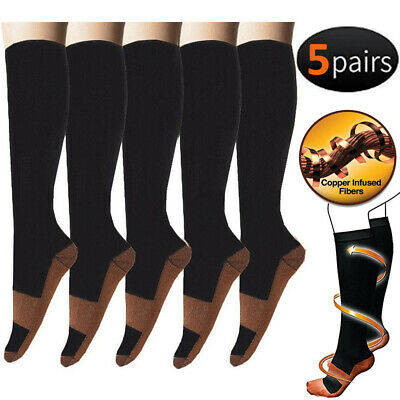 5-Pairs Copper Fit Knee High Compression Socks 20-30mmHg Medical Flight Socks
