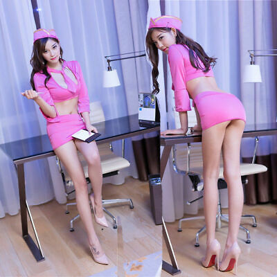 Womens Sexy Uniform Pink Adult Top Skirt Cosplay Costume Lingerie Club Dress Set
