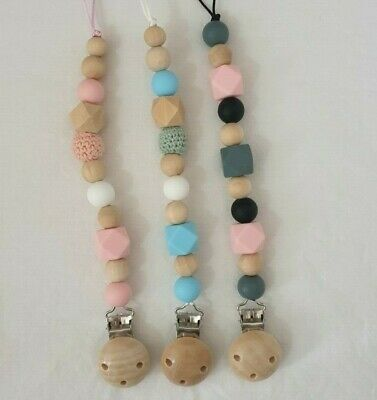 Baby Infants Pacifier Wooden Dummy Chain Clip Soother Beads Chewing Toy