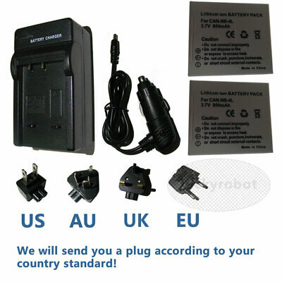 2XBattery NB-4L+charger for Canon Ixus 40 50 60 65 IXUS 55 i ZOOM Digital Camera