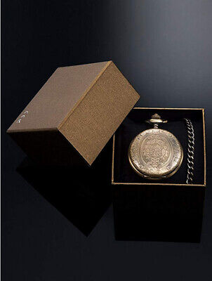 Quartz Pocket Watch for Men with Black Dial and Chain Bronze