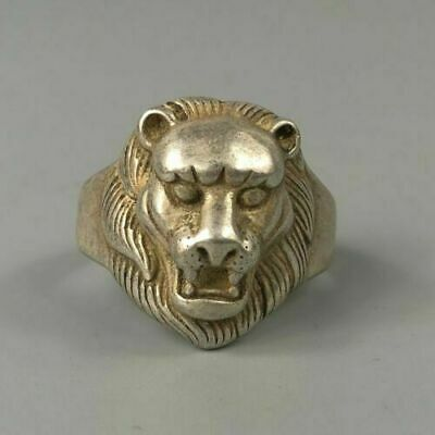 Rare Chinese Collectible Antique Old Tibet Silver Handwork Lion King Amulet Ring