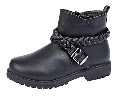 Girls Faux Leather Ankle Boots Kids Strong Soul Biker Boots Zip Up School Shoes