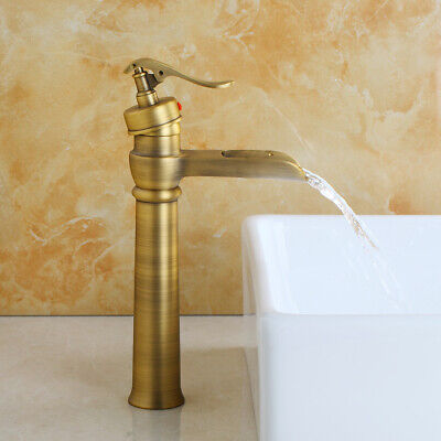 Antique Brass Bathroom Sink Faucet Basin Deck Mounted Tall Single Hole Mixer Tap