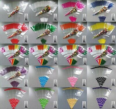 Party Cone Bags & Ties Sweet Cello Cellophane Treat Bags Plastic Candy Gifts