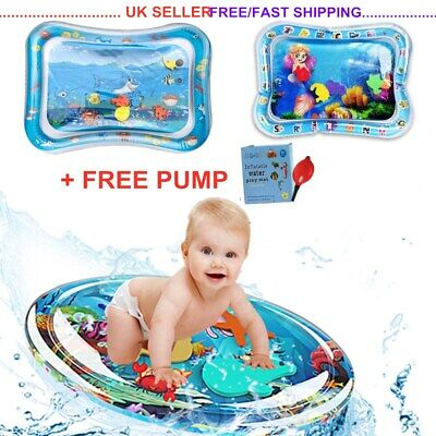 Inflatable Water Mat Baby Infants Toddlers Mattress Splash Playmat Tummy Time UK