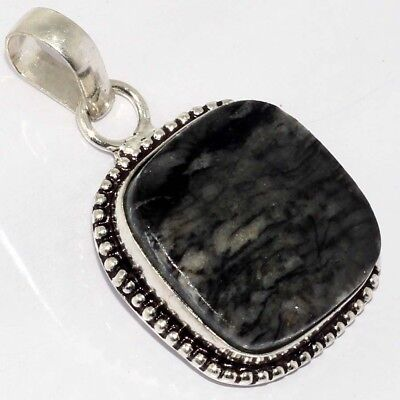 "Z250    Picasso Jasper & 925 Sterling Silver Plated Pendant 1.6"" Jewelry"