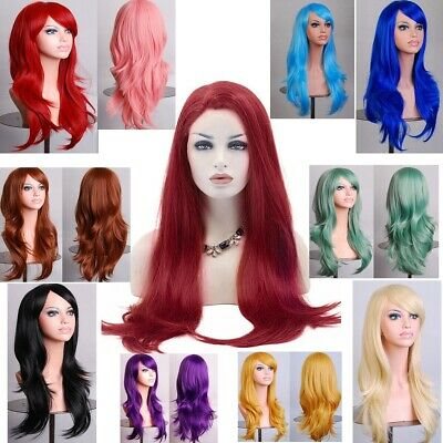 70cm Women's Anime Long Straight Full Wigs Cosplay Curly Wigs Costume Party Hair