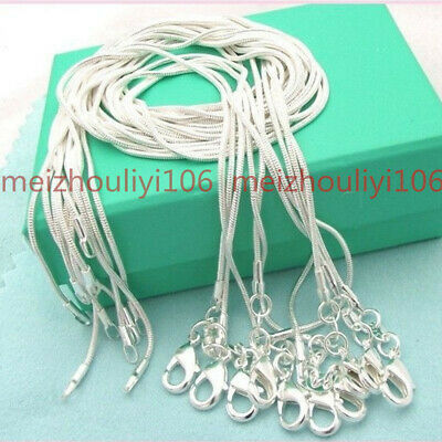 Wholesale 10 Pcs Solid Silver 1mm Snake Chain Necklace For Pendant Women Jewelry